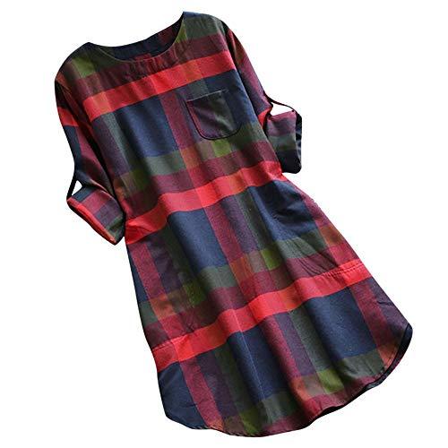 Vectry Kariertes Kleid Mode Damen Sommer Lässige Kariertes Langarm Sommerkleid Lose Baggy Strandkleid(Grün,X-Large)