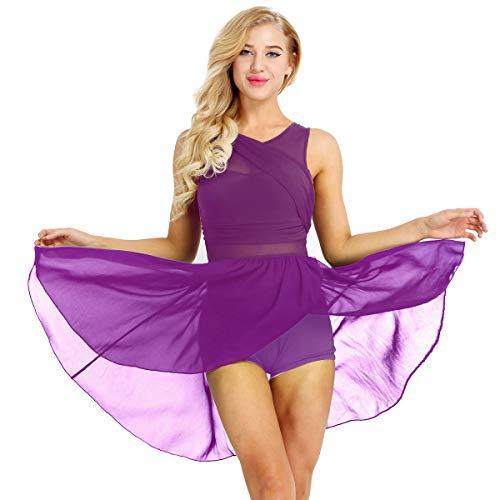 iEFiEL Damen Ballettkleid Tanzkleid mit Asymmetrisch Rock Wickelrock Tango Latein Kleider Leotard Ballettanzug Trikot Tanz-Body Gr. XS S M L XL Lila X-Small