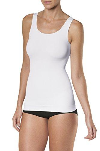 SLEEX Damen Shapewear Figurformendes Unterhemd (mit Breiten Traegern), Weiss, Groesse M/L