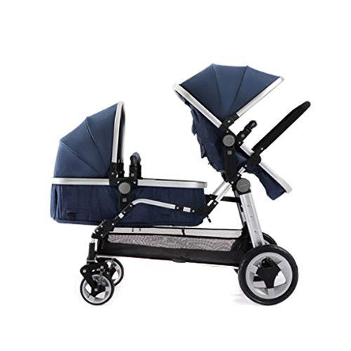 Xiaoping Trolley Doble for niños, Ligero, Doble Plegable, reclinable y Sentado (Color : Blue)