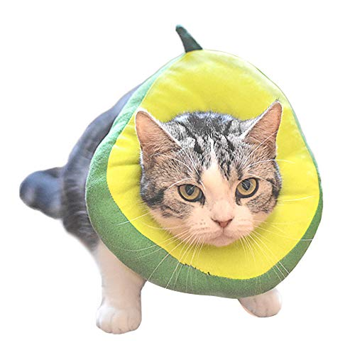 Amakunft Adjustable Cat Recovery Collar, Cute Avocado Neck Cone After Surgery, Wound Healing Protective Cone Fruit Shape Surgery Recovery Elizabethan Collars, Soft Edge E-Collar for Kitten and Cats
