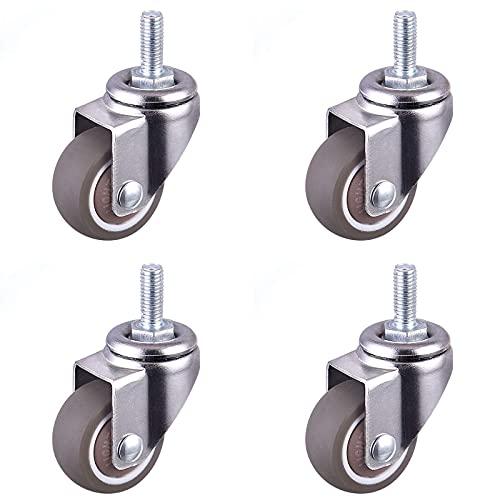 DQAW Caster Räder Mute Swivel - Ruedas de goma giratorias para muebles con ruedas M6 para cargas pesadas
