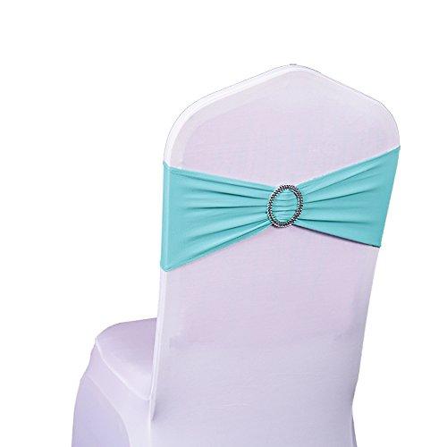SINSSOWL, set di 100 fasce elastiche in elastan per sedie, per matrimoni, feste, fasce per sedie (senza coprisedia) Blu