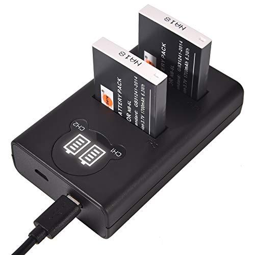 DSTE NB-6L CB-2LY Batería Recargable (Paquete de 2) y Cargador USB Dual...