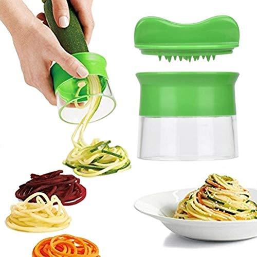 Roexboz Cortador en espiral manual de verduras, cortador en espiral, rallador de verduras para zanahorias, pepinos, patatas, calabacines, cebollas, espaguetis de verduras