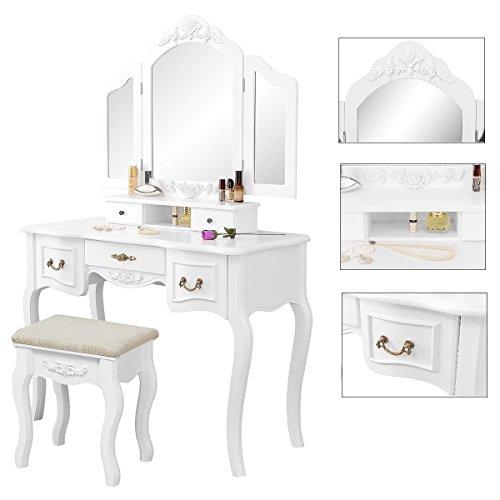 Gemani weiß Schminktisch mit Spiegel Kosmetiktisch Kosmetikkommode Frisiertisch Schmucktisch Landhaustisch_3000WT