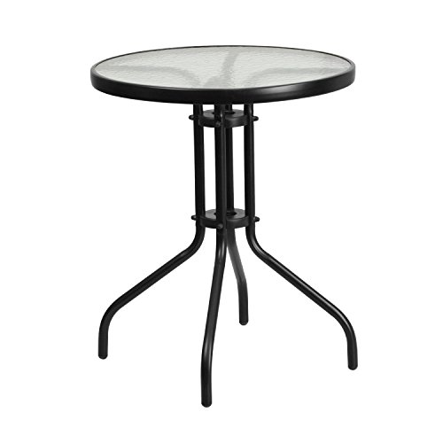 Flash Furniture 23.75'' Round Tempered Glass Metal Table