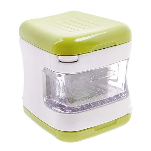 El mejor ayudante en la cocina Prensa de ajo muy bandeja de plástico agudo de acero inoxidable Hojas incorporada verde claro Ajo Cebolla Grinder Chopper