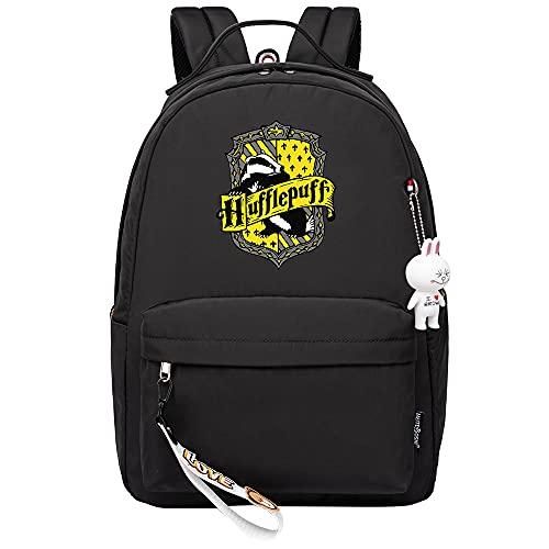 MMZ Mochila para mujeres, niñas, mochila para niños, mochila para niños, mochila informal, patrones de moda, estuche para lápices con estampado Hufflepuff (negro)