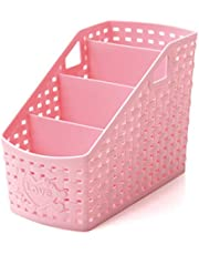 Cosanter 4 compartimentos de almacenamiento de PVC, plástico, organizador multifuncional para escritorio, soporte para notas adhesivas, color rosa