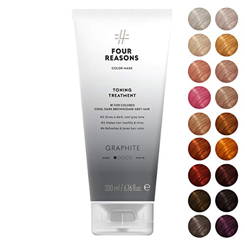 Four Reasons Color Mask - Graphite - (19 Colors) Toning Treatment, Color Depositing Conditioner, Tone & Enhance Color-Treated Hair - Semi Permanent Hair Dye, Vegan and Cruelty-Free, 6.8 fl oz