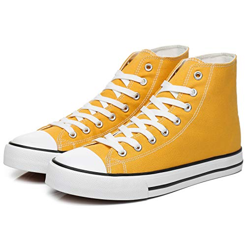 yageyan Men's High Top Canvas Sneakers Fashion Lace up Walking Shoes Casual Classic(Yellow,11)