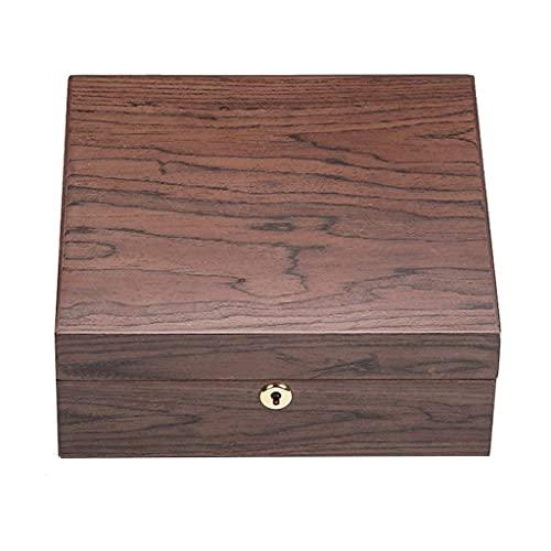 HYLK Cajas de reloj para hombre Joyero para niñas y mujeres, mamá, relojes de pulsera de madera con cerradura, para anillos, pendientes, collares, pulseras de regalo de cumpleaños