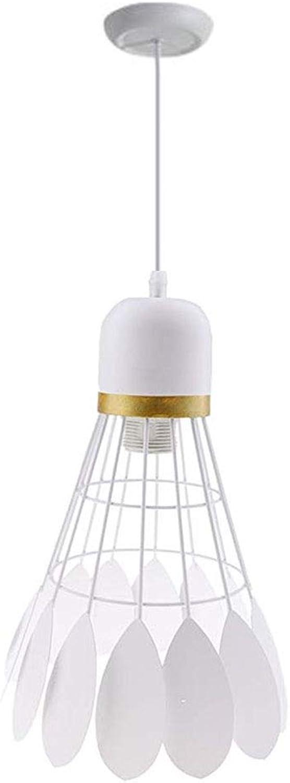Moderner Kreativer Kronleuchter M Badminton-Deckenpendelleuchte-Deckenbeleuchtung-Lampen-E27-Basis 220-240V FüR Raum-Schlafzimmer-Esszimmer (1-Light),Weiß