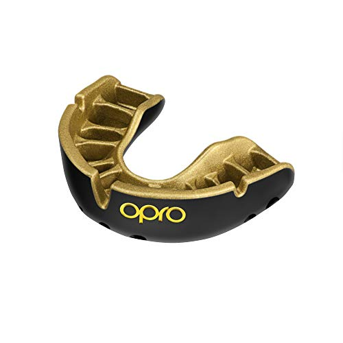 Opro Gold Level Mundschutz - für Rugby, Hockey, MMA, Boxen, Lacrosse, American Football, Basketball - Self Mould - (Schwarz/Gold, Erwachsene)