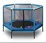 5ft Kids Trampoline with Safety Enclosure Net, Outdoor Jumper Trampolines for Family Entertainment, Ball Pool Mini Trampoline 220Lbs (Blue)