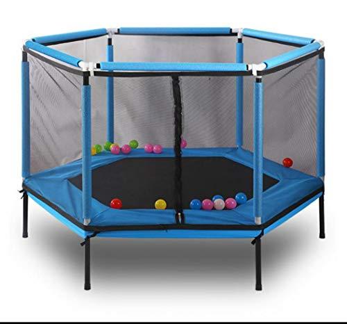Trampolines, Niños Trampolín con Enclosure Net Salto Mat y Cubierta de Resorte Acolchado Trampolín Saltar Interior Exterior Trampolín para la Familia Escuela de Entretenimiento (Azul)