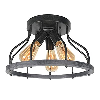 Beuhouz Round Rustic Flush Mount Ceiling Light, Metal and Wood Farmhouse Ceiling Lighting Industrial Wire Cage Close to Ceiling Light Fixture 3 Light Edison E26 8030