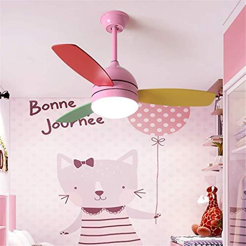 AI LI WEI Ventilador de Techo con luz LED y Mando Macarons ModernCreative Araña del Cuarto de niños del niño Aula Infantil Dormitorio Lámparas de la Sala, Azul (Color : Pink)