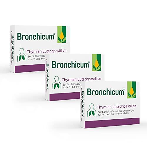 Bronchicum Thymian Lutschpastillen | Sparset mit 3 x 50 Stück | Zur Schleimlösung bei Erkältungshusten und akuter Bronchitis