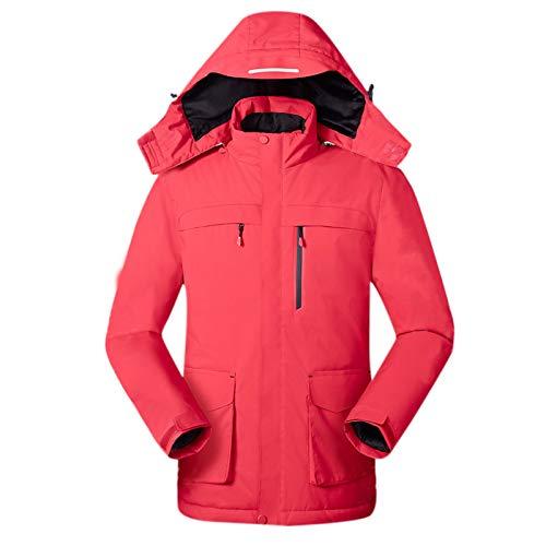 BUKINIE Beheizte Jacke Herren Damen Elektrisch Heizmantel Winter Warm Mountain Wasserdicht Skijacke Schneemantel Outwear Gr. XX-Large, rot