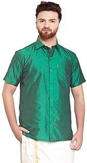 SJS-Men's Half Sleeve Solid Art Silk Shirt (Green, 36)