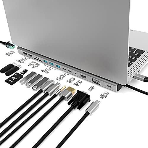 Hub USB C, Magic Eye 14 en 1 Triple Pantalla Hub, HDMI (4K), Gigabit Ethernet, USB 3.0, USB 2.0, USB-C PD Carga 87W, VGA, Audio 3,5mm, USB-C, SD/TF Card Reader, for MacBook Pro/Air/XPS y Más