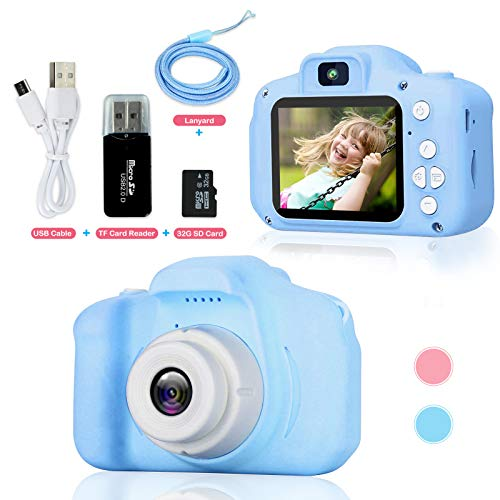 OUPUSES Upgrade Kids Camera for Toddlers, Christmas Birthday Gifts for Age 3-9 Girls and Boys HD Digital Video Camera , Mini Play Camera for 3 4 5 6 7 8 9 Year Old Boys with 32GB SD Card