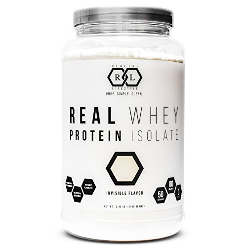 Realist Lifestyle Real Whey Protein Isolate Powder, Invisible Flavor, Clean Ingredients, 2.42 Pounds, 50...