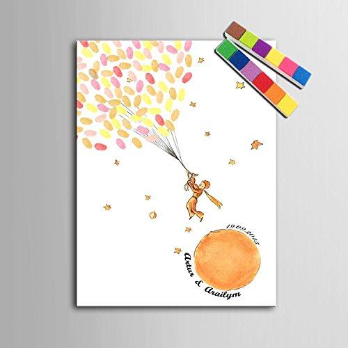 FANGYAO Impresiones de huellas digitales personalizados pintura lienzo - Principito (incluye 12 tinta FColors) , 60*80cm