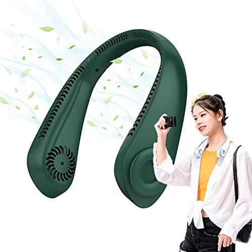 Ventilador De Cuello USB PortáTil Sin Aspas RotacióN De 720° 3 Velocidades Luz Led Recargable, Ventilador Sin Aspas Silencioso para Coche Deporte Oficina Hogar green-5000mAh