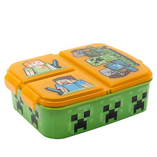 MINECRAFT   Sandwichera con 3 compartimentos para niños - lonchera infantil - Porta merienda -...