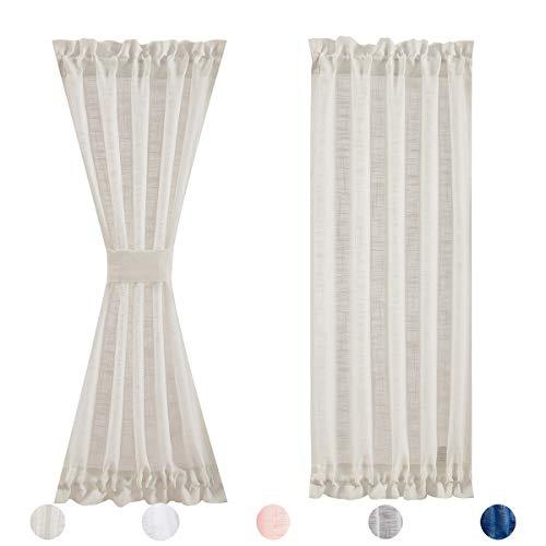 """Sidelight French Door Curtains Sheer 72-inch Long Linen Texture Narrow Semi Sheer French Door Panels for Front Door Glass Door Window 24"""" w x 2 Pack"""