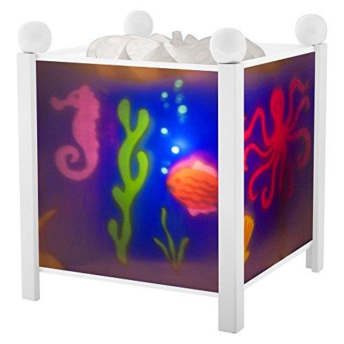 Trousselier - Meer - Nachtlicht - Magische Laterne - Ideales Geburtsgeschenk - Farbe Holz weiß - animierte Bilder - beruhigendes Licht - 12V 10W Glühbirne inklusive - EU Stecker