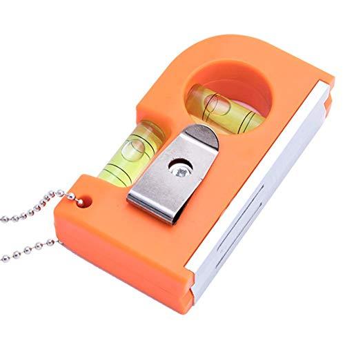 Questionno 2 in 1 Mini Level Tool 2 Bubble Spirit Leveler Metal Chain Hook (Orange)