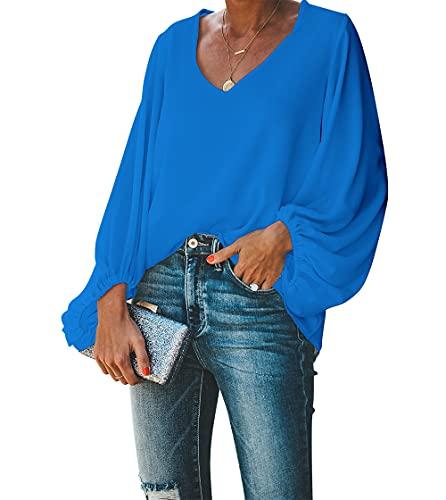 BELONGSCI Women's Casual Sweet & Cute Loose Shirt Balloon Sleeve V-Neck Blouse Top (Blue, L)