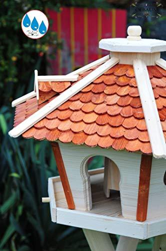 Futterhaus,Vogelhäuser wetterfest, mit Ständer / mit Standfuß und Silo,Futtersilo für Winterfütterung, Futterstation aus Holz SR45heMS mit Schindeldach hellbraun braun mit Ständer - 3