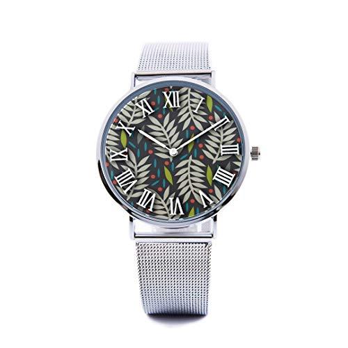 Unisex Fashion Watch Abstract Background Maple Leaf Aspen Leaf Pumpkin Autumn Design Print Dial Quartz Stainless Steel Wrist Watch with Steel Strap Watchband for Women/Men 36mm&40mm Casual Watch -  NQEONR, 20190321-WATCH-345-386530339
