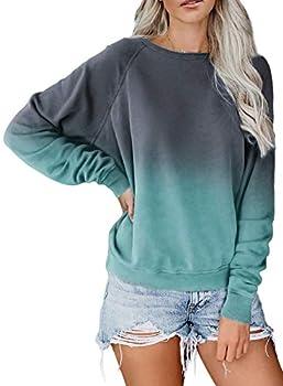 Eytino Women Long Sleeve Colorblock Tie Dye Print Pullover Sweatshirts Tops,Medium Blue
