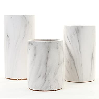 Koyal Wholesale Marble Decor, Black White Marble Effect Cylinder Vase Centerpiece for Marble Wedding, Mable Home Decor, Marble Desk Accessories (Set of 3)