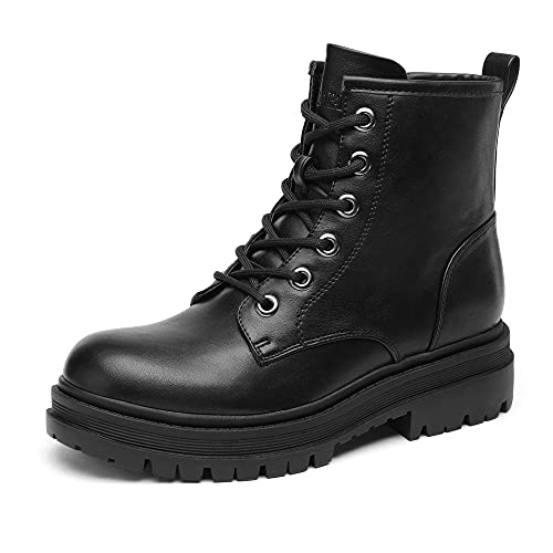 DREAM PAIRS Black Strong-5 Lace-up Platform Combat Boots Ankle Booties for Women Size 9