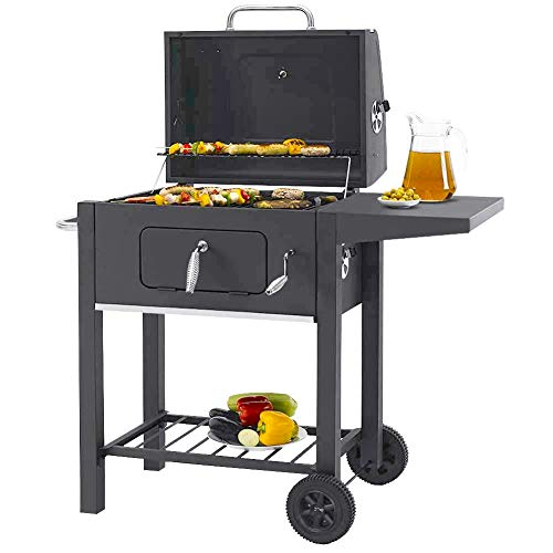 garden mile® Large Trolley BBQ Charcoal Smoker | Black Steel Barbeque with Adjustable Height Cooking Grill | Heat Resistant Paint | On Wheels with Side Shelf and Ventilated Lid