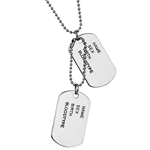 JewelryWe Colgante Collar Personalizado Dog Tag Militar Doble, Hombre Mujer Personalizadas Placas Estilo Ejército para Grabar, Acero Inoxidable Plateado Pulido, Regalo Dia de la Padre (D-plateado2 sin grabado)