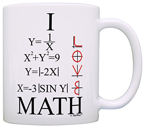 Funny Math Gift I Love Math Graphs Functions Algebra Calculus STEM Gift Coffee Mug Tea Cup White