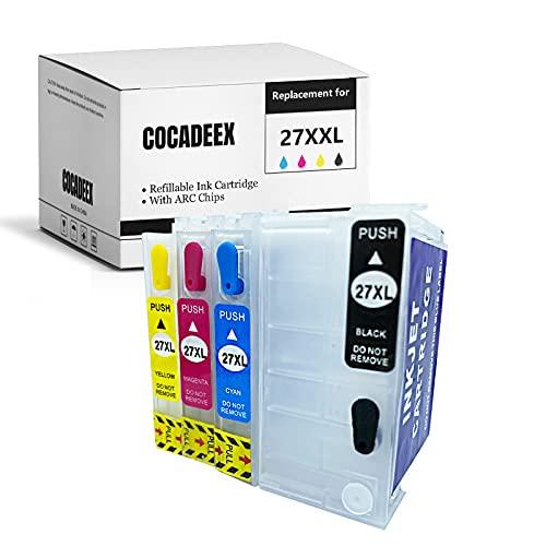 COCADEEX - Cartuccia di inchiostro vuota ricaricabile per inchiostro 27XL 27XXL, funziona con Workforce WF-3620 WF-7620 WF-7610 WF-3640 WF-7110 WF-7210 WF-7710 WF-7710 WF-7715 WF-7720