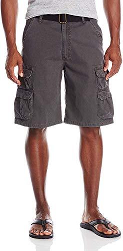 Wrangler Authentics Men's Premium Twill Cargo Short, Anthracite Twill, 38