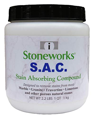 SAC Poultice Powder (2.2 Lb) Designed to Eliminate Stains Such as Coffee, Tea, Oil, Grease, Butter and Other Non-Acid Stains from Marble, Granite, Limestone, Travertine & Other Porous Natural Stones