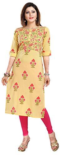 Unifiedclothing, Damen, modisch, bedruckt, indisch, lang, Kurti, Top, Shirt, Kleid CP124 Gr. 40, gelb