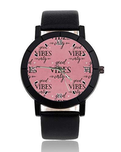 Good Vibes solo personalizado reloj personalizado casual correa de cuero negro reloj de pulsera para hombres mujeres unisex relojes