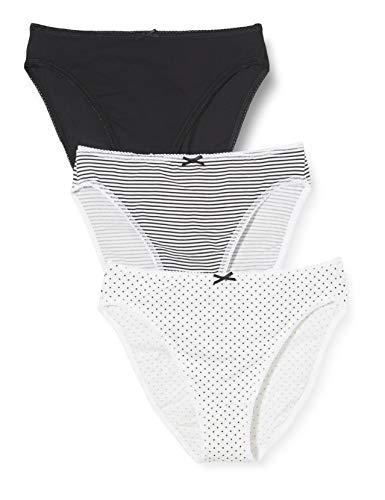 Amazon-Marke: Iris & Lilly Damen Taillenslip, 3er Pack, Mehrfarbig (Black/Print), XL